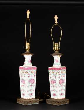 Pair of Famille Rose Chinese Export Vases Lamps