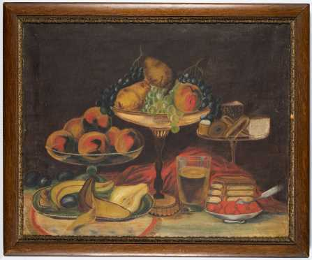 American Primitive Still Life of Fruit Painting