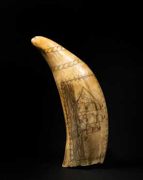 American 19thC Scrimshaw Decorated Whale's Tooth