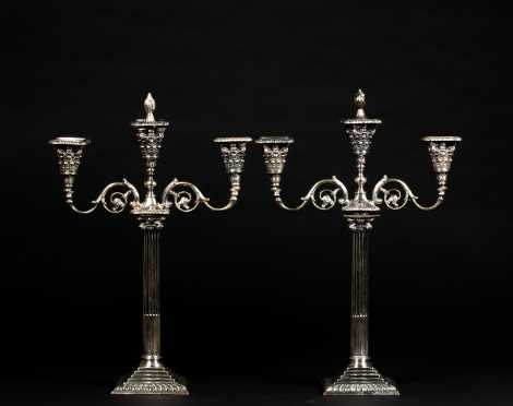 Pair of English Coin Silver Candlestick with Later Candelabra