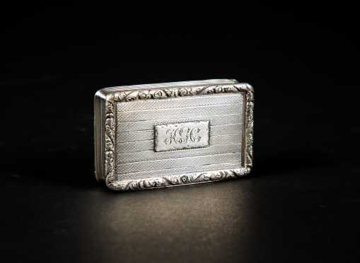 English Coin Silver Book Form Snuff Box