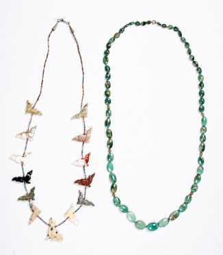 Two Beaded Necklaces in Hardstone and Turquoise