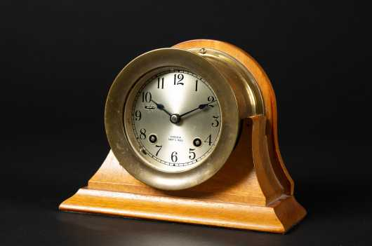 """Chelsea Ships Bell"" Brass Clock"