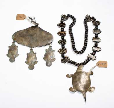 Hudson Bay Native American Beaver and Turtle Necklaces
