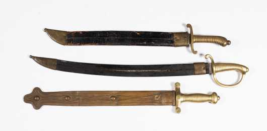 Three Brass Hilted Foot Artillery Swords