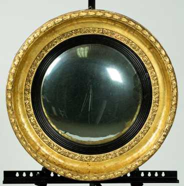 19thC Gilded Convex Mirror