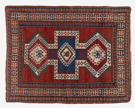 Antique Kazak Oriental Scatter Rug