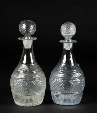 Two Three Mold Stoppered Decanters and a Clear Flip Glass