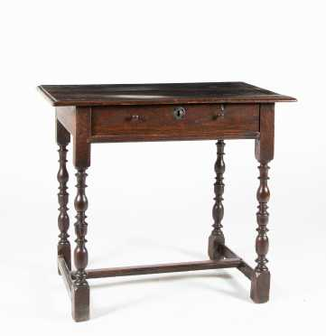 18thC English Oak Stretcher Based Tavern Table