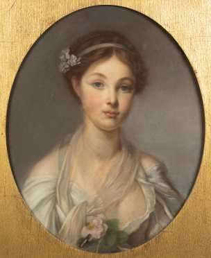 19thC French Pastel Drawing of a Young Girl