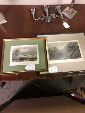 Two Prints, Squam Lake and Echo Lake, Framed