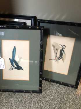 Pair Bird Prints in bamboo Matching Frames, Magpie and Woodpecker