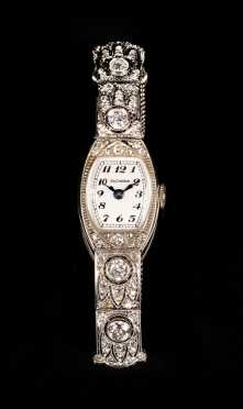 Bucherer Art Deco Diamond and 14k White Gold Ladies Dress Watch