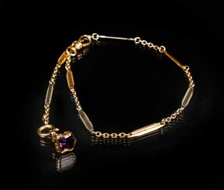 Mixed Gold Watch Chain and Amethyst Fob