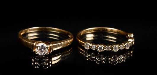 Yellow Gold and Diamond Ring Set