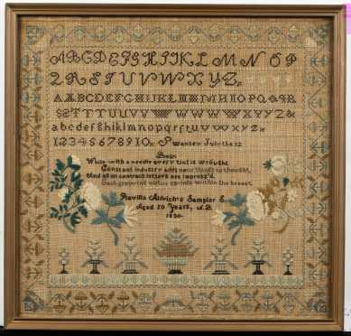 1830 Swanzey, NH Needlework Sampler