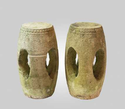 Similar Pair of Chinese Carved Limestone Garden Seats