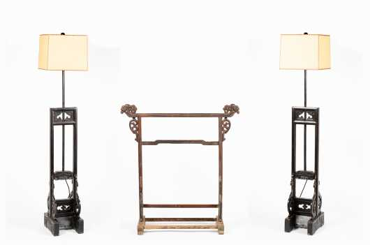 Pair of Chinese Lamps and Drying Rack