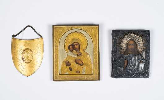 Two Russian Icons and a Polish Ryngraf Gorget