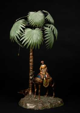 Vienna Cold Painted Bronze Palm Tree with Camel Lamp