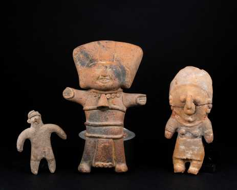 Three Pre Columbian Terra Cotta Standing Figures *AVAILABLE FOR REASONABLE OFFERS*
