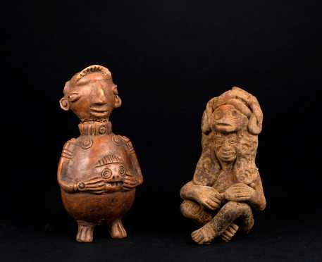 Two Earthenware Pre Columbian Figures *AVAILABLE FOR REASONABLE OFFERS*