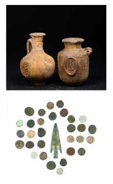 Two Holy Land Archeological Handled Vases and a Group of Roman Coins and Arrow Head