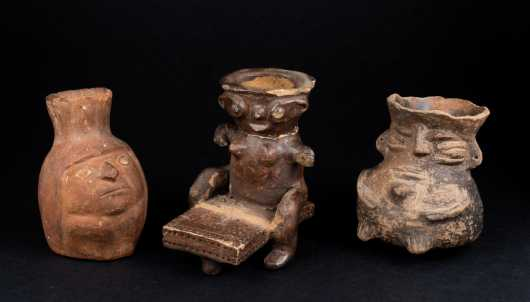 Three Pre Columbian Figural Vessels *AVAILABLE FOR REASONABLE OFFERS*