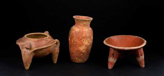 Three Pre Columbian Terra Cotta Vessels *AVAILABLE FOR REASONABLE OFFERS*