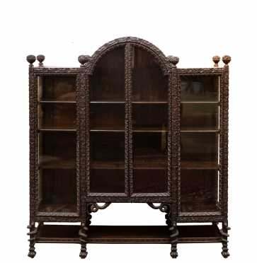 Highly Carved Oak China Cabinet/Bookcase