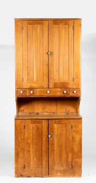 American 19thC Pine Stepback New England Cupboard