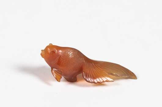 Chinese Agate Ware Fantail Fish