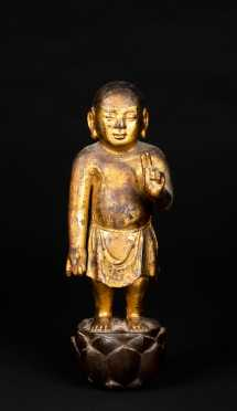 19thC Carved and Gilded Buddha Figure