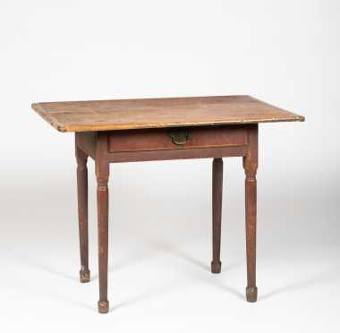Queen Anne New Hampshire One Drawer Tavern Table in Old Red Paint