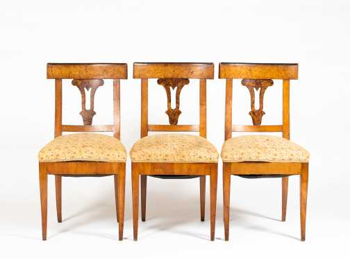 Three Matching 19thC Biedermeier Side Chairs