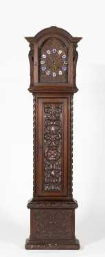 19thC German Ornately Carved Walnut Grandfather Tall Clock