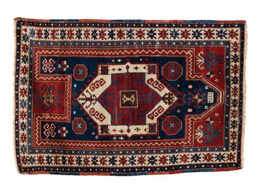 L19thC Kazak Prayer Oriental Rug