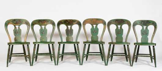 Set of Six Paint Decorated Pennsylvania Side Chairs