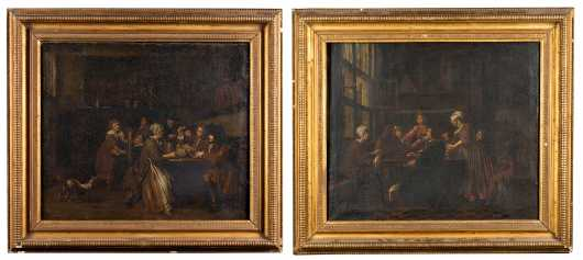 Pair of 18thC Dutch Interior Paintings with Important New York History