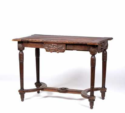 French 19thC Walnut Library Table