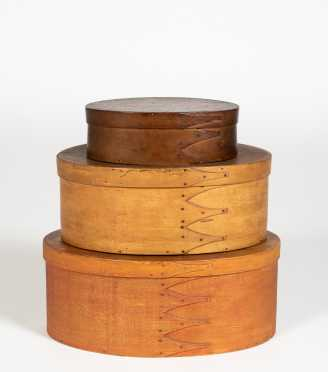 Three Shaker Oval Fingered Boxes
