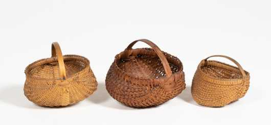 Three Miniature Buttocks Baskets