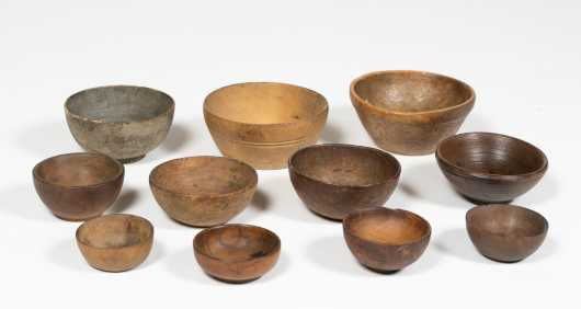 Eleven American Turned Wooden Bowls