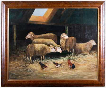 Primitive Painting of Five Sheep and Chickens in a Barn