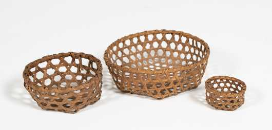 Three Miniature Cheese Form Baskets *AVAILABLE FOR REASONABLE OFFERS*