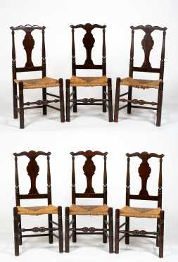 Set of Six Dominy Style Queen Anne Side Chairs