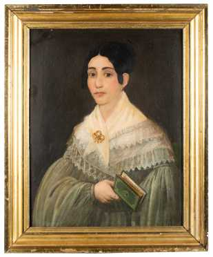 American Primitive Painting of Young Woman