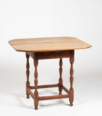 New England Stretcher Base Tavern Table with Remains of Red Paint