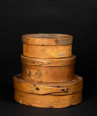 Three Antique Oval Fingered Boxes
