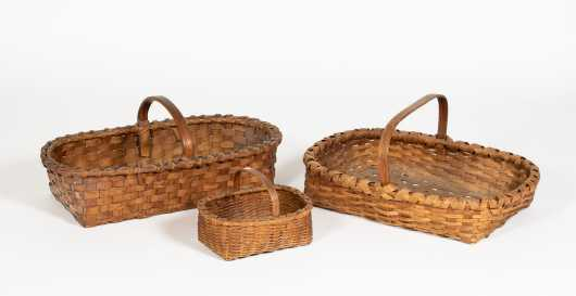 Three Handled Splint Gathering Baskets